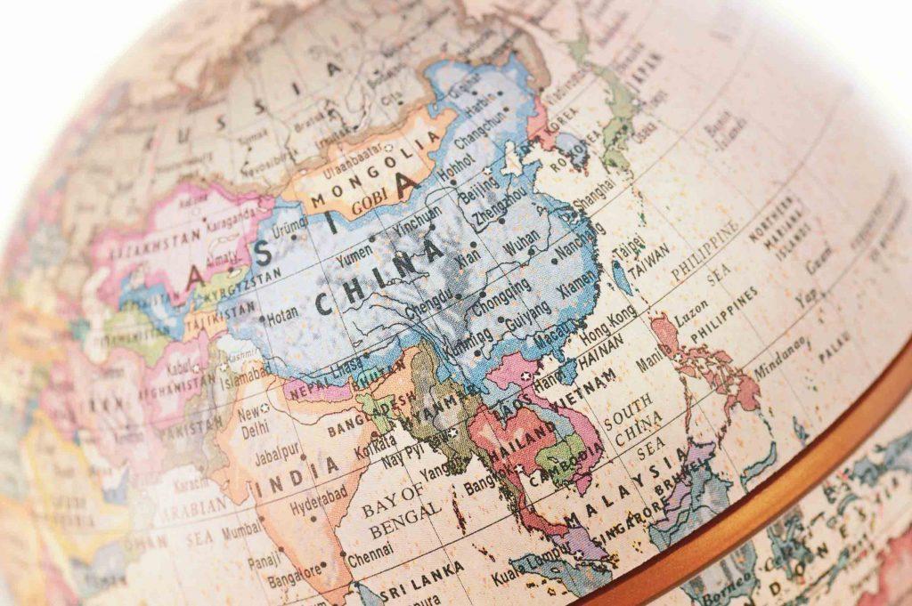 Asia Shown in a Globe
