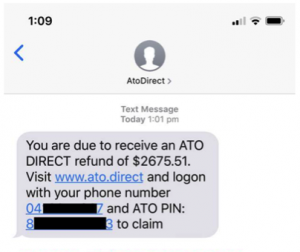 Sample of ATO scam on mobile phone